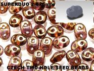 SD-00030/15695 Crystal Bronze Lumi SuperDuo Beads * BUY 1 - GET 1 FREE *