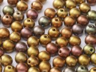 RB6-01610 Gold Iris Satin Mix Round Beads 6 mm - 50 x