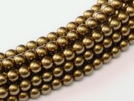 Bronze Gold 2 mm Glass Round Pearls