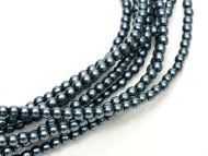 Dark Cyan 8 mm Glass Round Pearls