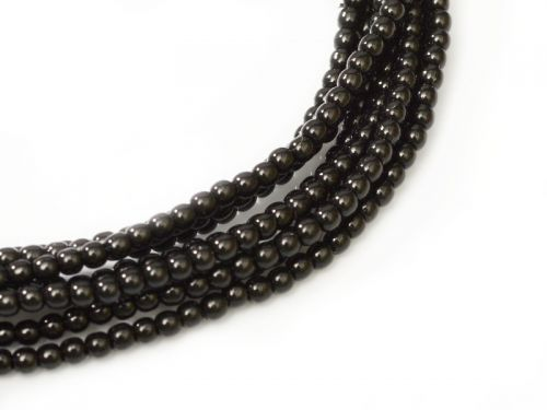 Black 2 mm Glass Round Pearls