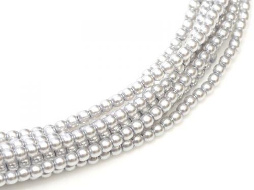 Platinum 8 mm Glass Round Pearls