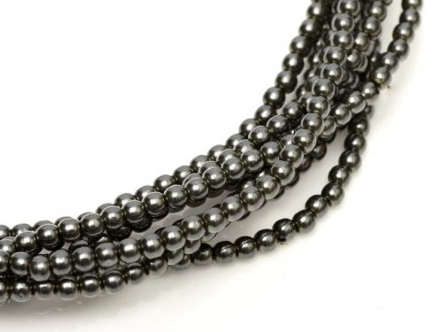 Dark Hematite 2 mm Glass Round Pearls