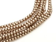 Cocoa Satin 2 mm Glass Round Pearls