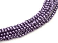 Purple Satin 2 mm Glass Round Pearls