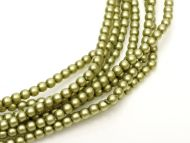 Light Olive Satin 2 mm Glass Round Pearls