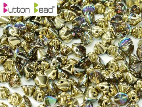 BB-00030/98536 Crystal Rainbow Gold Button Beads * BUY 1 - GET 1 FREE *