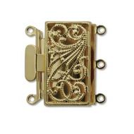 Box Clasp Gold Plate Filigree 3 strands 22 mm