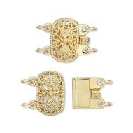 Box Clasp Filigree Gold Plate 2 strands 14 mm