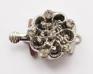 Box Clasp Platinum with Rhinestones 1 strand 14 mm