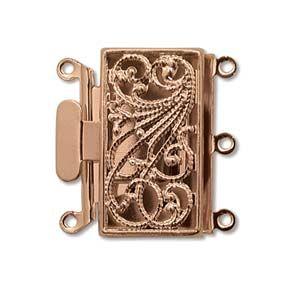 Box Clasp Rose Gold Plate Filigree 3 strands 22 mm