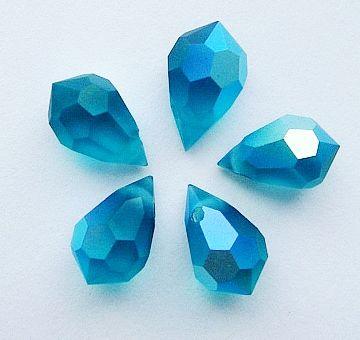 PD681 Blue Zircon AB Matte Drop 15x9 Preciosa