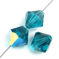 Blue Zircon AB 4 mm Bicone Preciosa - 50 x