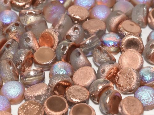 C2-00030/98583 Etched Crystal Rainbow Copper 2-Hole Cabochons