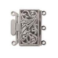 Box Clasp Silver Plate Filigree 3 strands 22 mm