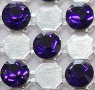 40001 Silver/Purple Velvet in Silver NHF Crystal Mesh Swarovski