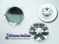 Pendant Setting Round 27 mm with 2 top side loops Silver Plated