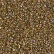 DB1738 Cocoa Lined Rainbow Chartreuse Delica 11/0 Miyuki