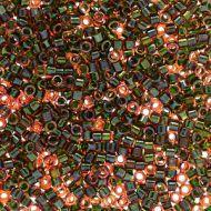 DB1741 Olive Lined Rainbow Orange Delica 11/0 Miyuki