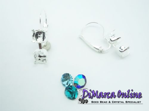 Earring Setting Leverback SS29 - 2 x 6 mm Silver Plated