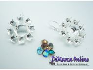 Earring Setting Leverback SS29 - Flower 6+12 mm Silver Plated