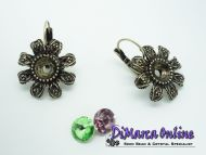 Earring Setting Leverback SS39 Glue-In - Flower 8 mm Antique Bronze Plated