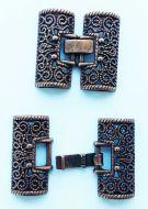 Fold-Over Clasp Filigree 26 mm Antique Copper