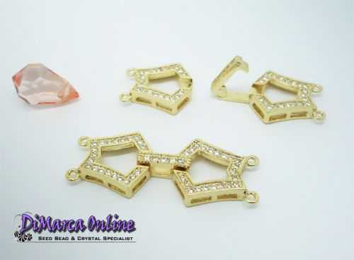 Fold-Over Clasp Cubic Zirconia Micro Pavé 2-Strand 35 mm Gold Plated