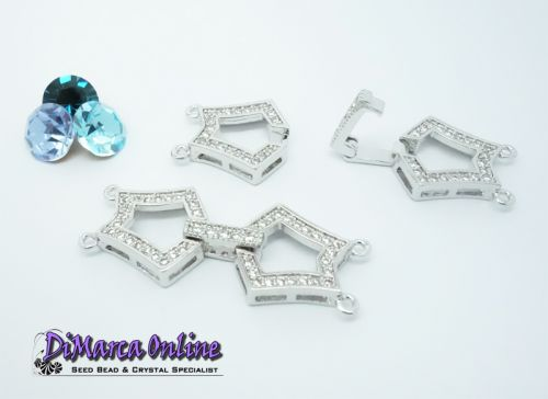 Fold-Over Clasp Cubic Zirconia Micro Pavé 2-Strand 35 mm Silver Plated