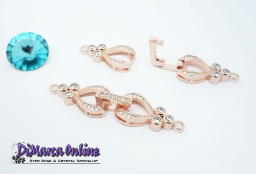 Fold-Over Clasp Cubic Zirconia Micro Pavé 1-Strand 42 mm Rose Gold Plated
