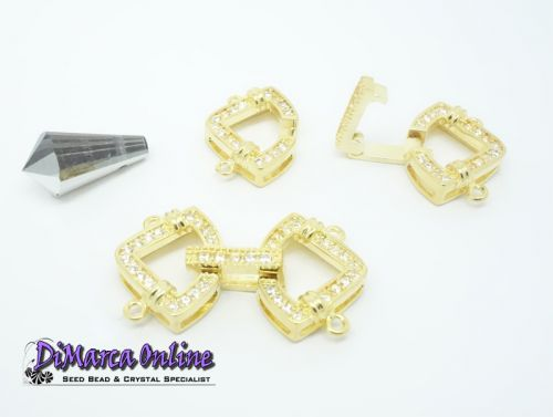 Fold-Over Clasp Cubic Zirconia Micro Pavé 2-Strand 26 mm Gold Plated