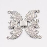 Fold-Over Clasp Filigree 38 mm Platinum 6 strands