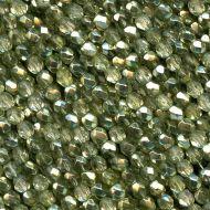 FP02 Crystal Metallic Green Tea 2 mm Fire Polished - 1.5 grams