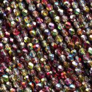 FP04 Crystal Metallic Rainbow Apple 4 mm Fire Polished - 100 x