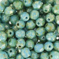 FP04 Opaque Blue Turquoise Picasso 4 mm Fire Polished ~ 100 x