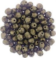 FP04 Sueded Gold Tanzanite 4 mm Fire Polished - 100 x