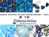 Grab Bag Czech Shaped Glass -50% Blue/Green