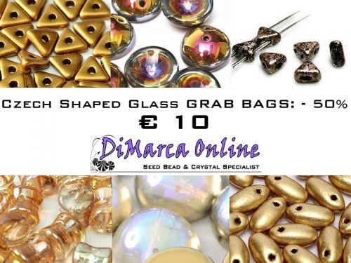 Grab Bag Czech Shaped Glass -50% Bronze/Gold