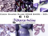 Grab Bag Czech Shaped Glass -50% Purple/Pink
