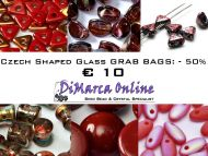 Grab Bag Czech Shaped Glass -50% Red/Orange