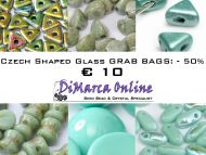 Grab Bag Czech Shaped Glass -50% Turquoise/Teal