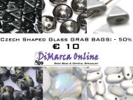 Grab Bag Czech Shaped Glass -50% White/Silver/Black