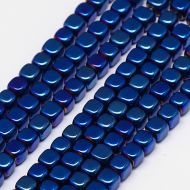 HC-Bl Blue Plated Non-Magnetic Hematite Cube Strand 2 mm