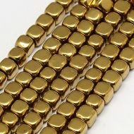 HC-G Gold Plated Non-Magnetic Hematite Cube Strand 2 mm