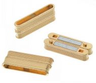 Magnetic Clasp Rectangle Glue-in 38 mm Ribbed Design Gold