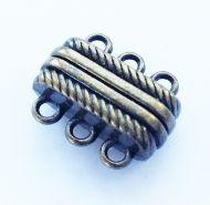 Magnetic Clasp 3 strands Antique Bronze