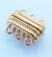 Magnetic Clasp 3 strands Gold