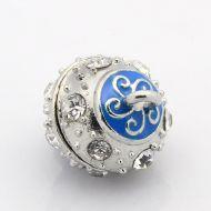 Magnetic Clasp Enamel Swirl Blue 13 mm
