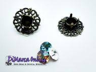 Embedding Elements Filigree 6 mm for 14 mm Cup Chain Antique Bronze Plated - 2 x