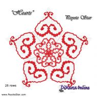 FREE TUTORIAL 25 rows - Hearts 3D Peyote Star (download link per e-mail)